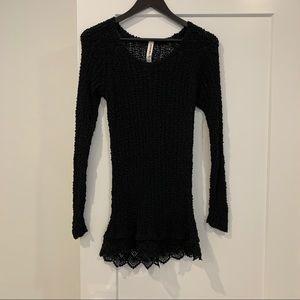 2/$15- Bethany Mota Tunic Open Weaved Sweater.
